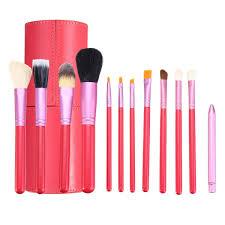 12pcs pink makeup cosmetic brush set blush eyeliner brush cylinder conner leather case aluminum