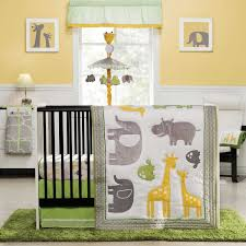 yellow and green baby room fantastic zoo animals 4 piece baby crib bedding set by