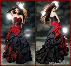 discount black and red gothic wedding dresses 2017 vintage court