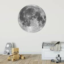 white full moon space wall sticker l