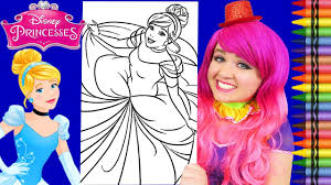 Free printable tangled coloring pages for kids. Coloring Cinderella Disney Princess Giant Coloring Page Crayola Crayons Kimmi The Clown Youtube