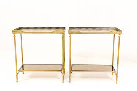 glass side table. French Brass And Glass Side Tables, Set Of 2 Table
