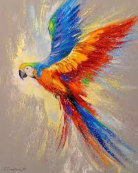 parrot in flight paintings fine art impressionism animals nature canvas