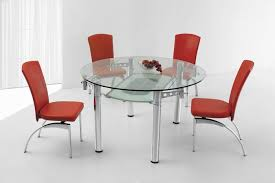 dining room round extendable glass dining table 4 seates with metal table base plu red