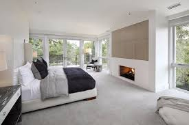 contemporary master bedroom with sierra birch vented ceramic gas logs only teak wood wall panels