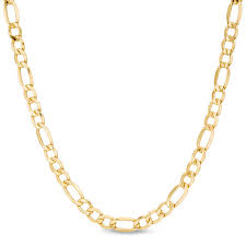 men s 5 8mm light figaro chain necklace in 14k gold 24