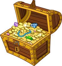 opened wooden treasure chest full of gold coins gems and jewelry stock vector colourbox