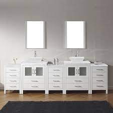 110 Double Bath Vanity In White With Aqua Tempered Glass Top And Square Sink With Polished