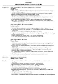Sample Sports Resume Sports Marketing Manager Resume Samples Velvet Jobs