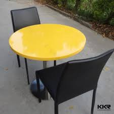 yellow round acrylic solid surface table tops