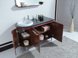 modern single bathroom vanity. Modern Single Bathroom Vanity With Round Drop In Sink And Glass Countertop Also Brown Cabinet Storage Front Of Bathrom Grey Fur Rug N