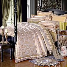 white gold jacquard silk cotton luxury bedding set king size queen bed set lace duvet cover