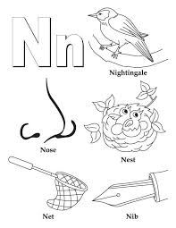 my a to z coloring book letter n coloring page