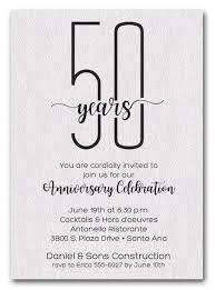 50th Anniversary Party Invitations Slender Shimmery White Business Anniversary Party Invitations