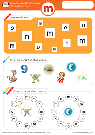 © contributed by leanne guenther. Letter Recognition Phonics Worksheet M Lowercase Super Simple