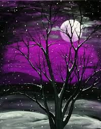 30 best canvas painting ideas for beginners purple sky moonrise with tree