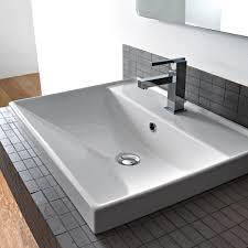 modern bathroom sinks. square white ceramic drop in or wall mounted bathroom sink modern sinks
