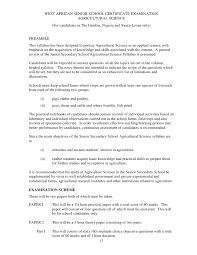 agricultural west african senior school certificate examination agricultural