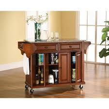 Granite Top Kitchen Island Cart Crosley Cherry Kitchen Cart With Granite Top Kf30003ech The Home