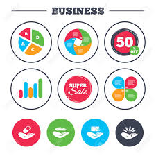 Business Pie Chart Growth Graph Helping Hands Icons Protection