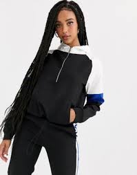 Pull&Bear <b>two</b>-<b>piece side</b> stripe hoodie in black | ASOS
