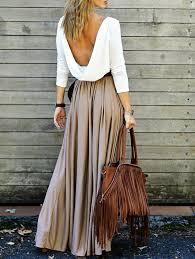 Alluring Long Sleeve Open Back Draped Maxi Dress Khaki S