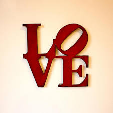 on red metal heart wall art with love wall art metal sign 8 x 8 love metal wall