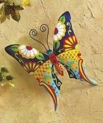 butterfly metal wall art garden mexican talavera style colorful on talavera style wall art with metal art wall decor foter