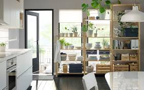 Monochrome kitchen with plants, dinnerware and files on wooden shelves.