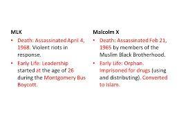 Mlk Vs Malcolm X Venn Diagram Malcolm X And Martin Luther King Jr Ppt Download