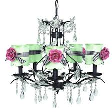 cinderella 5 light chandelier with bulb cover shade finish black shade black and white