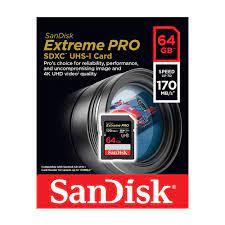 Thẻ nhớ SDXC SanDisk Extreme Pro U3 V30 1133x 64GB