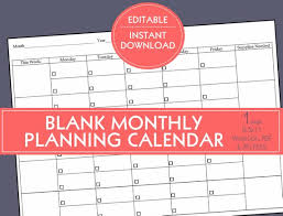 Blank Monthly Calendar Template Word New Editable BLANK PLANNING CALENDAR Template 48 Weeks Etsy