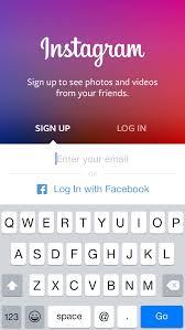 insram sign up screen