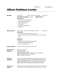 dietary aide resume sample resume sample allison kathleen lawlor