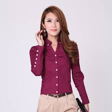 Female Office Shirt Designs Female Office Clothing Women Solid Color Shirts Size S 2xl V