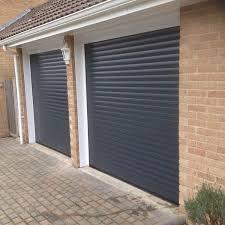 garage door in anthracite grey before after