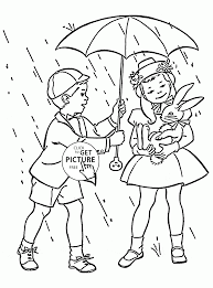 Small Picture Kids and Spring Rain coloring page for kids seasons coloring