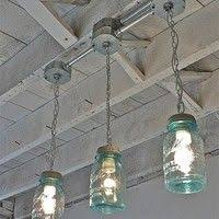 mason jar track lighting. Handcrafted Blue Mason Jar 3-Light Track-light Track Lighting R