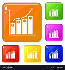Grow Up Chart Icons Set Color