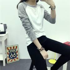Patchwork Long Sleeve T-shirt <b>Casual</b> Top Cotton New <b>Spring</b> ...