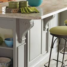kitchen island close up. close up of a kitchen island with corbels