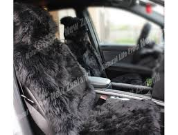 premium quality nz long wool sheepskin car seat cover black