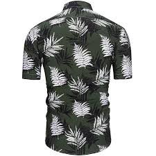 Mens Short Sleeve Shirt Button Down Casual Printed Hawaiian