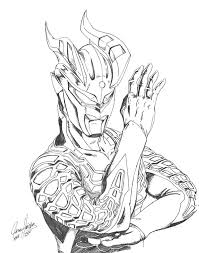 600x762 ultraman zero sketch to color