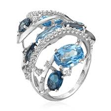 Купить Кольцо с лондон <b>топазом</b>, бриллиантами из белого ...