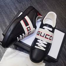 gucci s stripe leather sneaker in black designergu