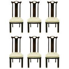 six teak chinoiserie dining chairs by hickory furniture