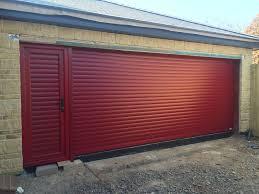 burdy red roller door with matching pass door
