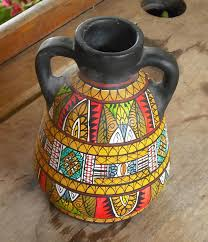vintage clay pottery vase with handles black hand painted tribal african print design bright colors pot urn